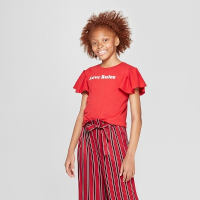 Girls' Short Sleeve Ruffle T-Shirt - art class™ Red