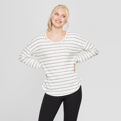 Women's Striped Long Sleeve Cozy Knit Top - A New Day™ Cream/Gray