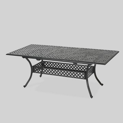 abigail rectangle cast aluminum expandable outdoor patio dining table copper christopher knight home