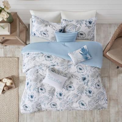 California King 7pc Cadenza Cotton Printed Comforter Set Blue/White