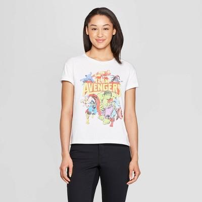 Women's Marvel Team Avengers Short Sleeve T-Shirt (Juniors') - White