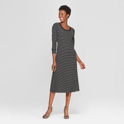 Women's Striped Button-Down Rib Midi Dress - Who What Wear™