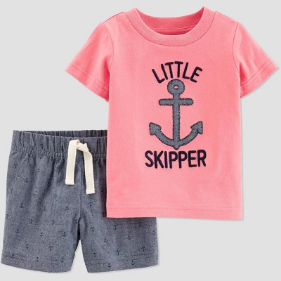 Toddler Boys' 2pc Little Skipper Shorts Set - Just One You® made by carter's Pink/Gray