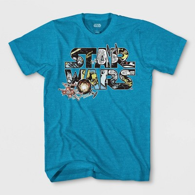 Boys' Star Wars Logo Comic Short Sleeve T-Shirt - Turquoise Heather
