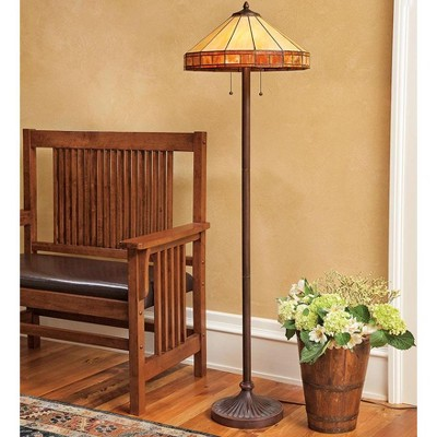 Tiffany-Style Stained Glass Mission Style Floor Lamp - Plow & Hearth