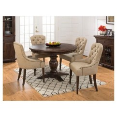 Round Dining Chairs Ems Stair Chair Geneva Hills 5 Piece Set With Tufted Side Wood Rustic Brown Jofran Inc Target