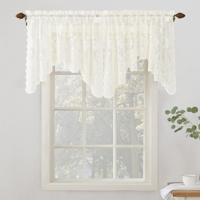 Alison Floral Sheer Lace Rod Pocket Curtain Valance - No. 918