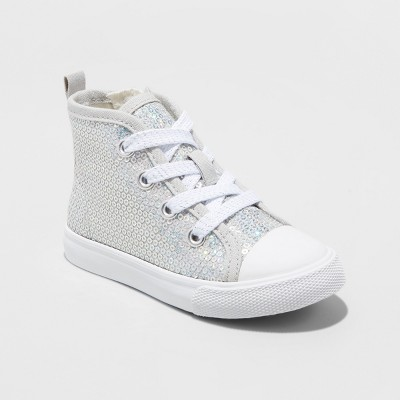 Toddler Girls' Henley High Top Sneakers - Cat & Jack™ Silver