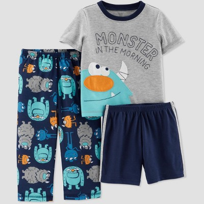 Toddler Boys' 3pc Poly Monster Pajama Set - Just One You® made by carter's Navy/Gray