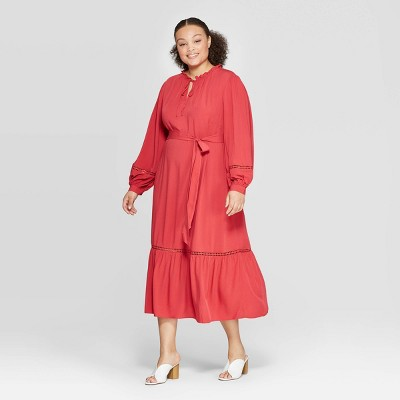 Women's Plus Size V-Neck Full Sleeve Trim Maxi Dress - Who What Wear™