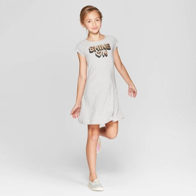 Girls' Short Sleeve Graphic Knit Dress - art class™ Gray