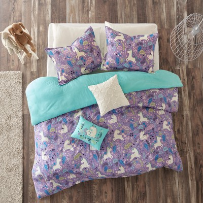 Laila Cotton Purple Duvet Cover Set