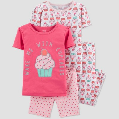 Toddler Girls' 4pc Pink Cupcake Pajama Set - Just One You® made by carter's Pink