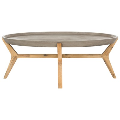 hadwin modern concrete oval dia coffee table dark gray safavieh