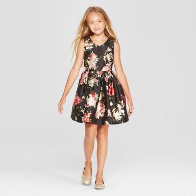 Mia & Mimi Girls' Floral Shine Dressy Dress - Black
