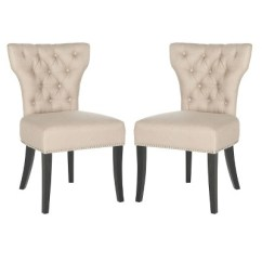 Safavieh Dining Chairs Dallas Cowboys Dharma Tufted Chair Wood Beige Set Of 2 Target