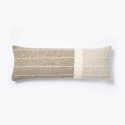 oversize woven wool cotton lumbar throw pillow brown cream threshold designed with studio mcgee