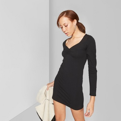 Women's Long Sleeve Ruched Front Knit Dress - Wild Fable™ Black