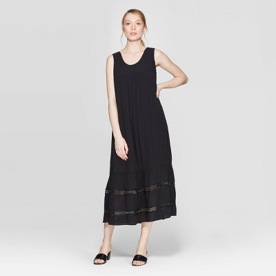 Women's Sleeveless Scoop Neck Tie Back Summer Loose Fit A Line Dress - Who What Wear™ Black