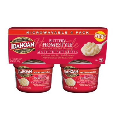 idahoan buttery homestyle microwavable mashed potato cups 6oz 4pk