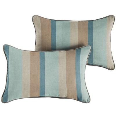 sunbrella 2pk gateway mist lumbar outdoor throw pillows blue brown