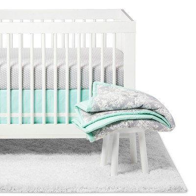 The Peanutshell Crib Bedding Set - Minted Damask - 5pc - Mint/Gray