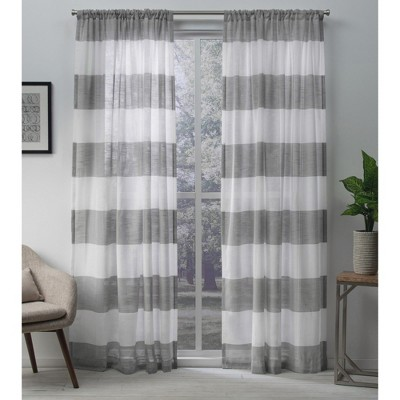 Set of 2 Darma Rod Pocket Light Filtering Window Curtain Panels - Exclusive Home