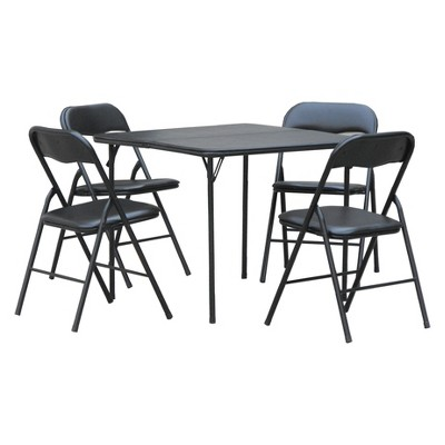 target folding table and chairs hanging egg chair in bedroom plastic dev group 5pc set black