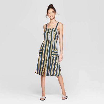 Women's Striped Square Neck Strappy Button Front Midi Dress - Xhilaration™ Black