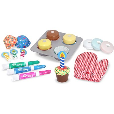 Melissa & Doug® Bake and Decorate Wooden Cupcake Play Food Set