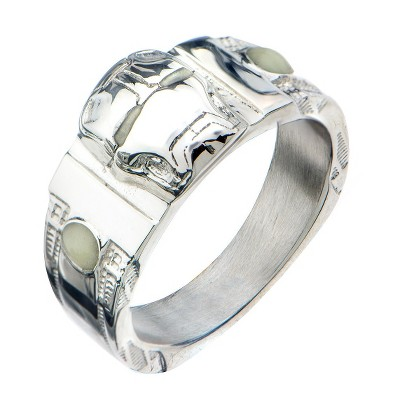 Men's MARVEL™ Iron Man Face Glow Eyes Stainless Steel 3D Ring