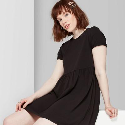 Women's Short Sleeve Knit Round Neck Babydoll Dress - Wild Fable™ Black