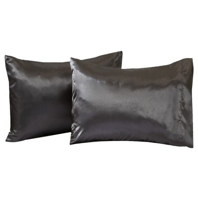great bay home 2 pack microfiber satin weave pillowcases king charcoal