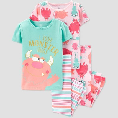 Baby Girls' 4pc Monster Pajama Set - Just One You® made by carter's Pink/Aqua