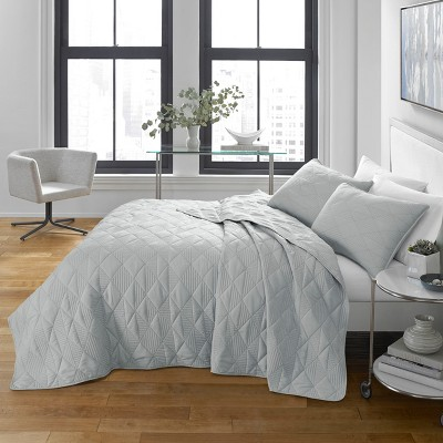 Checker Stitch Quilt Set Gray - CITY SCENE