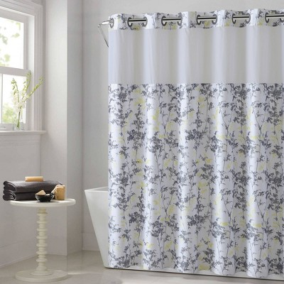 field leaves shower curtain with fabric liner white hookless