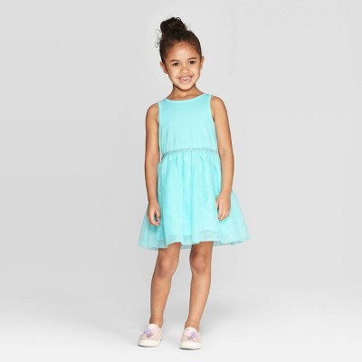 Toddler Girls' Solid A-Line Dress - Cat & Jack™ Aqua
