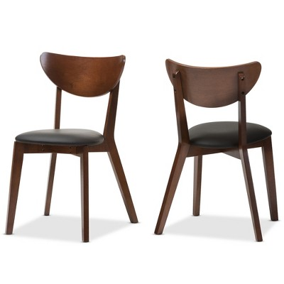 faux leather dining chairs animal rocking chair set of 2 sumner mid century black walnut brown baxton studio