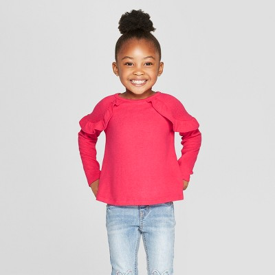 Toddler Girls' Long Sleeve Cozy Pullover Sweater - Cat & Jack™ Dark Pink