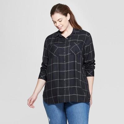 Women's Plus Size Plaid Long Sleeve Collared Button-Down Shirt - Ava & Viv™ Black