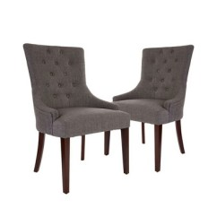 Gray Upholstered Dining Chairs Kids Rocker Chair Set Of 2 Tufted Back With Arm Rest Dark Glitzhome
