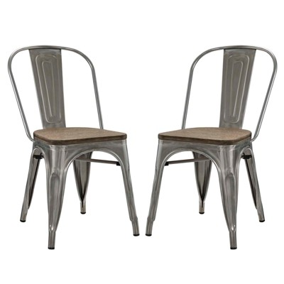 chair cba steel leather counter chairs set of 2 promenade dining side wood silver target modway