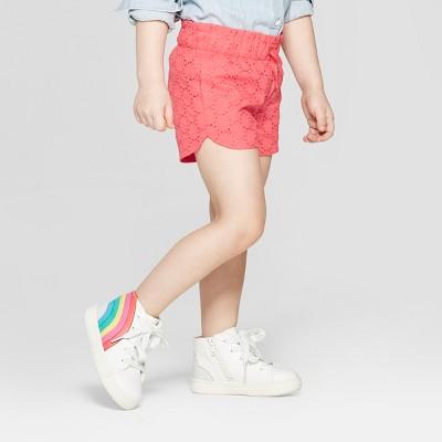 Toddler Girls' Eyelet Woven Fashion Shorts - Cat & Jack™ Orange