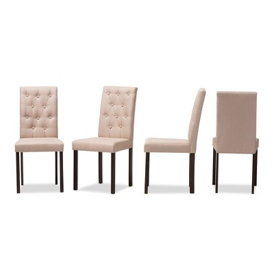 dining chairs set of 4 target for teenage room gardner modern and contemporary finished fabric upholstered chair beige dark brown baxton studio