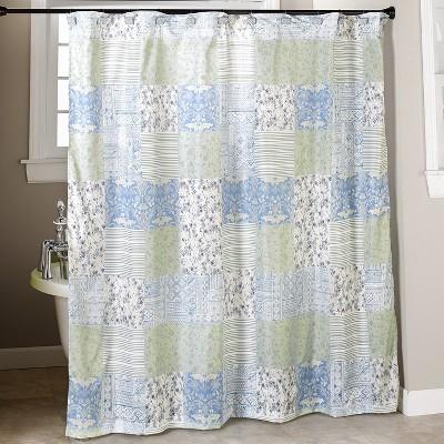 lakeside madeleine patchwork shower curtain bathroom farmhouse accent