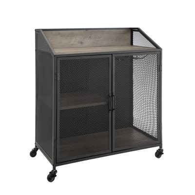 "33"" Industrial Bar Cabinet with Mesh - Saracina Home"