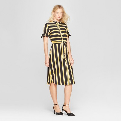 Women's Short Sleeve Knotted Midi Shirt Dress - Who What Wear™
