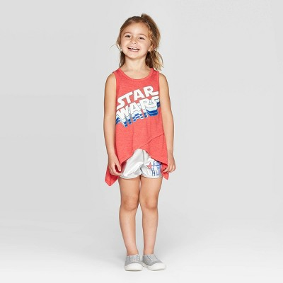 Toddler Girls' Star Wars Rocker Top and Bottom Set - Red/Silver