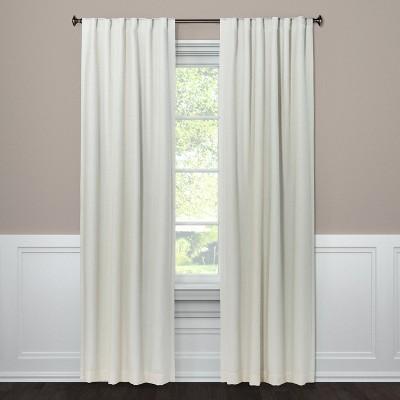 84 x50 aruba linen blackout curtain panel sour cream threshold