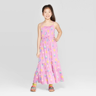 Girls' Knit Rainbow Print Maxi Dress - Cat & Jack™ Purple